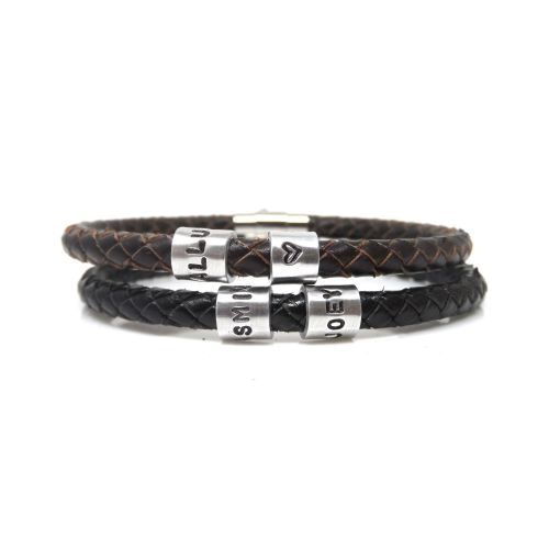 Personalised Leather Bracelet with Two Hand Stamped Rings - Free Delivery